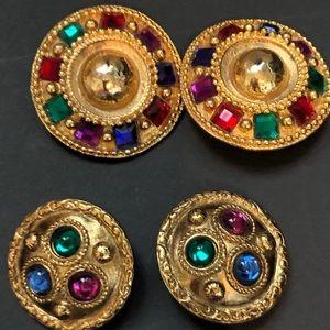 Vintage designer gold tone multi stone earrings